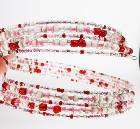 Multi-Strand Beaded CLAIRE'S Choker (Red-Pink-White)