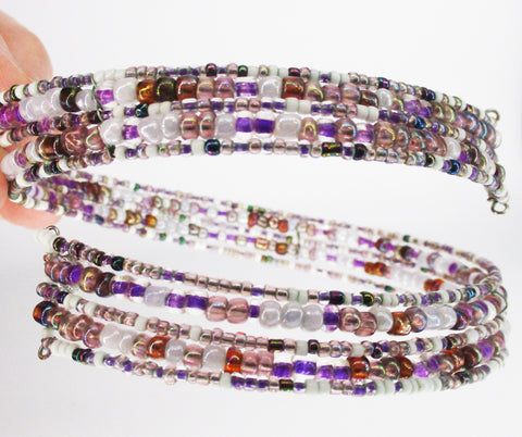Multi-Strand Beaded CLAIRE'S Choker (Purple-White)