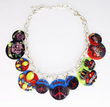 Boho Vintage Necklace of Painted Shell Discs