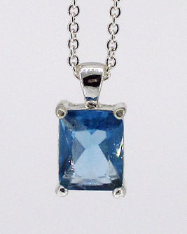 Blue Glass Pendant on Silver-Tone Necklace