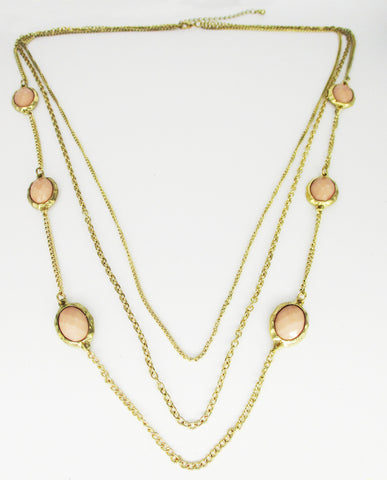 Soft, Subtle, 3-Strand Necklace of Gold-tone Metal with Peach Oval Accents