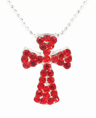 Red Rhinestone Rounded Cross on Silver-Tone Ball Chain