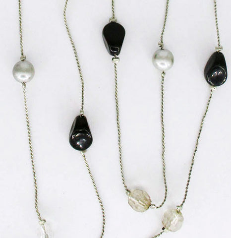 Long Black Plastic & Crystal Beads and Grey & Black Faux Pearls Necklace