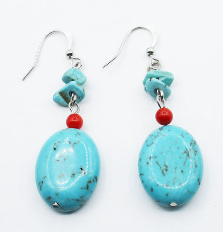 Glass Bead Turquoise and Carnelian Earrings on Silver-Tone Metal