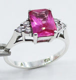 Sweet, Sparkly Ring, Pink Sapphire & 925 Sterling Silver, Size 7, w/Cut-Glass Crystals