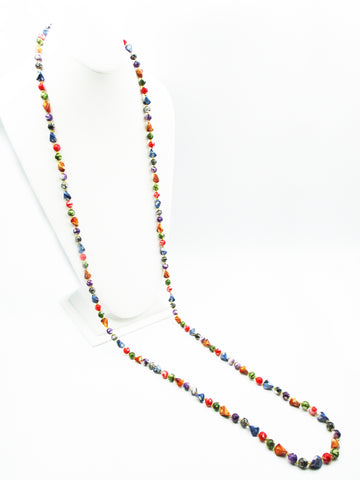 Carnival Multi-Color, Marbled Bead, Super-Long Necklace
