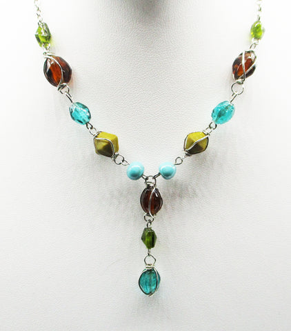 Warm Necklace in Ocean Tones of Glass & Resin Beads on Silver-Tone Chain