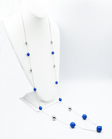 Fun, Super-Long Silver and Blue Bead Necklace on a Delicate Silver-Tone Chain