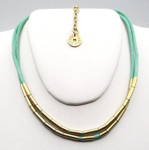 Sleek KARMA BELLA Cord Choker with Gold-Metal Tube Beads