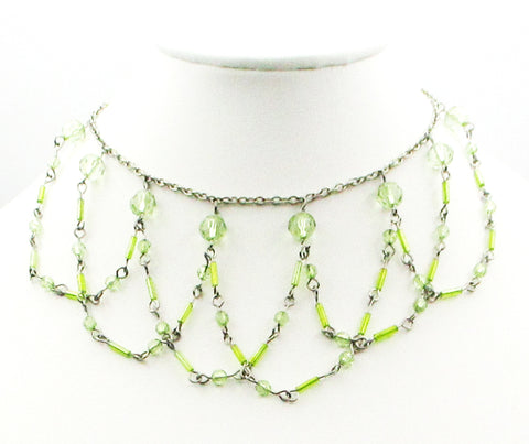 Sweet, Delicate Choker Necklace in a Scalloped Net with Pastel Green Beads