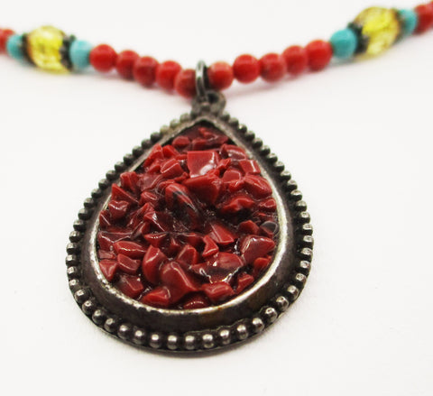 Summer Necklace by SCORPIO R.I. of Glass Beads with a Druzy-Type Pendant