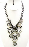Mystical Circles with Dangling Iridescent Clear Beads on Black-tone Chain