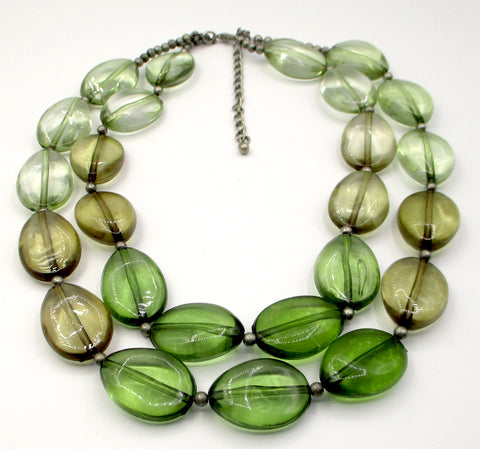 Gentle Forest & Ocean Shaded Plastic Beads on Two-Strand Necklace