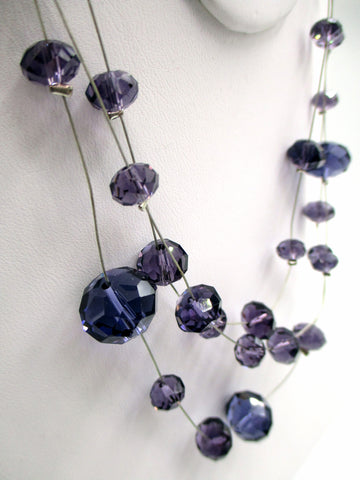 Delicate Sparkling Floating Purple Bead Necklace on 3 Thin, Silver-tone Wires
