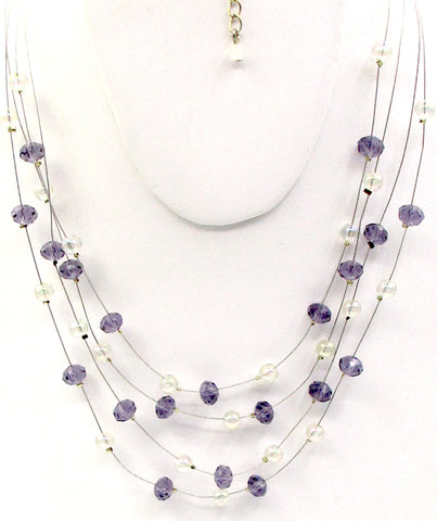 AVON NWT Soap-Bubble Iridescent & Cut-Purple Glass Floating Bead Necklace