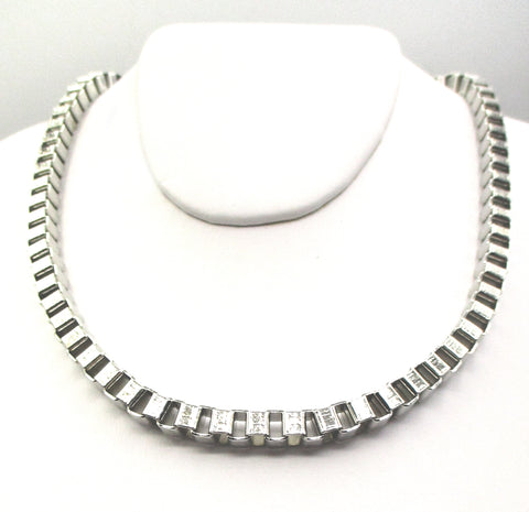 Large-link Box Chain in Brushed Silver-Tone Metal