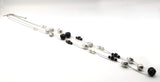 Long, Double-Strand Thin Silver-Tone NY & Co Necklace with Black Roses, Silver, and Faux Pearl Beads