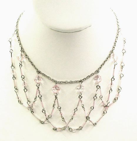 Sweet, Delicate Necklace in a Scalloped Net with Soft Pink Beads