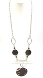 Long, Boho Chic Galaxy Chocolate Swirl Necklace on Silver-tone Chain