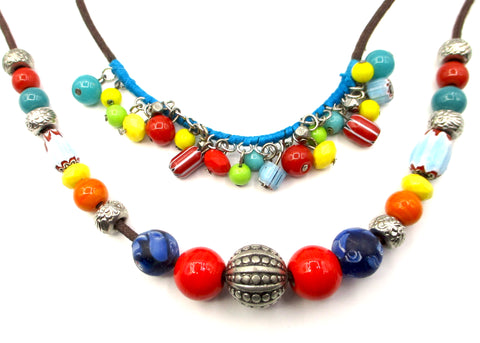 Cheerful Multi-Color Carnival Glass Beads on 2-Strand Brown Cord Necklace