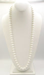 Versatile White Plastic Bead, Hand-Knotted Necklace with Bead Clasp