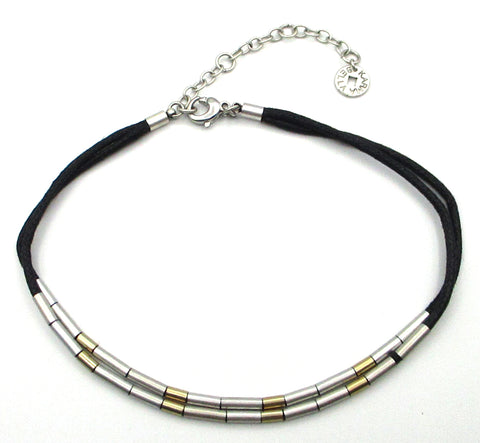 Sleek KARMA BELLA Choker with Gold-Tone and Silver-Tone Tube Beads