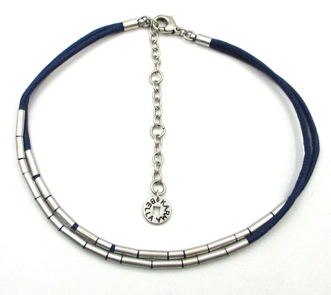 Sleek KARMA BELLA Choker with Silver-Tone Tube Beads