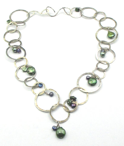Artistic Coin Pearl and Silver-Tone Circle Link Necklace