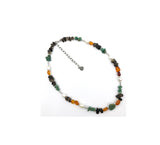 Mystic KENNETH LOGAN Necklace with Pearl, Smoky Quartz, Turquoise, Amber & Sunstone Beads w/925 Silver Clasp