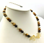 Luminescent KENNETH LOGAN Pearl & Citrine Necklace, 925 Clasp
