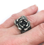 Rose Ring, Silver-Tone Metal, Hand-Wrought, Size 7