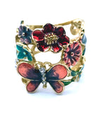 Delightful Butterfly & Flowers Enamel Ring by GUESS, Size 8