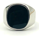 Black Onyx Enamel Ring set in 18K RGP (Rolled Gold Plating), Size 7.75