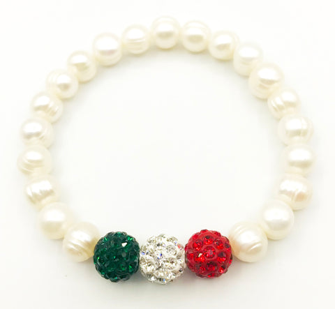 Cultured Pearls with Rhinestone Beads Stretch Bracelet