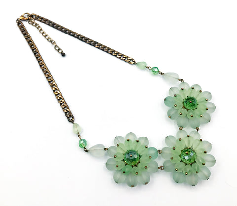 Fun Vintage Green Plastic Flower Statement Necklace with a Sparkling Bead Center