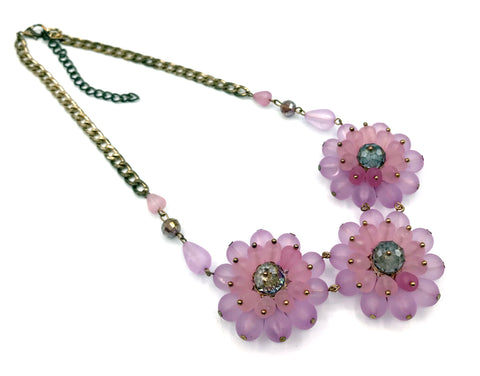 Fun Vintage Pink-Purple Plastic Flower Statement Necklace with a Sparkling Bead Center