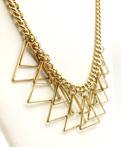 Fun Triangle Necklace on a Heavy Gold-Tone Curb Chain