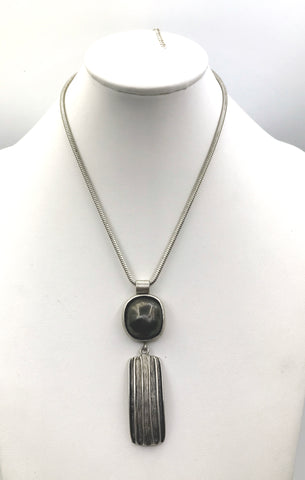 Sleek Geometrics in a Brushed Silver-Tone Metal Necklace