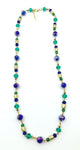 Intriguing Necklace of Jade Beads, Sparkling Faceted Blue-Purple Beads and Gold Beads