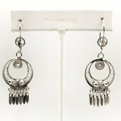 Delicate, Intricate Circle Earrings with Openwork and Fringe, 925 Mexico