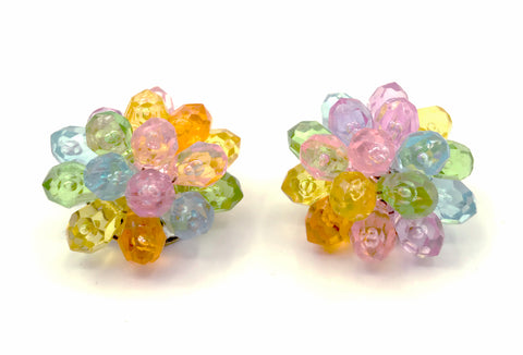 Cheerful HONG KONG Clip-On Flower Vintage Earrings in Carnival Colors