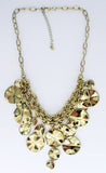 Statement Necklace with Gold-Tone Discs Cascade on Double Chain Center