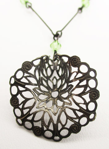 Delicate Vintage Openwork Bell Flower with Silver-tone Necklace and Green Glass Beads