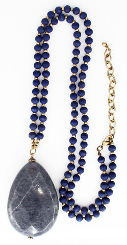 Mystic Faceted Grey Gemstone Pendant on Blue Wood and Golden Bead Necklace