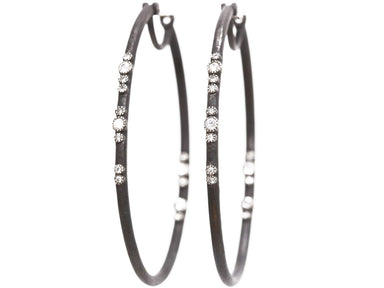 Stslvr/ Scattered Diamond Hoop Earrings