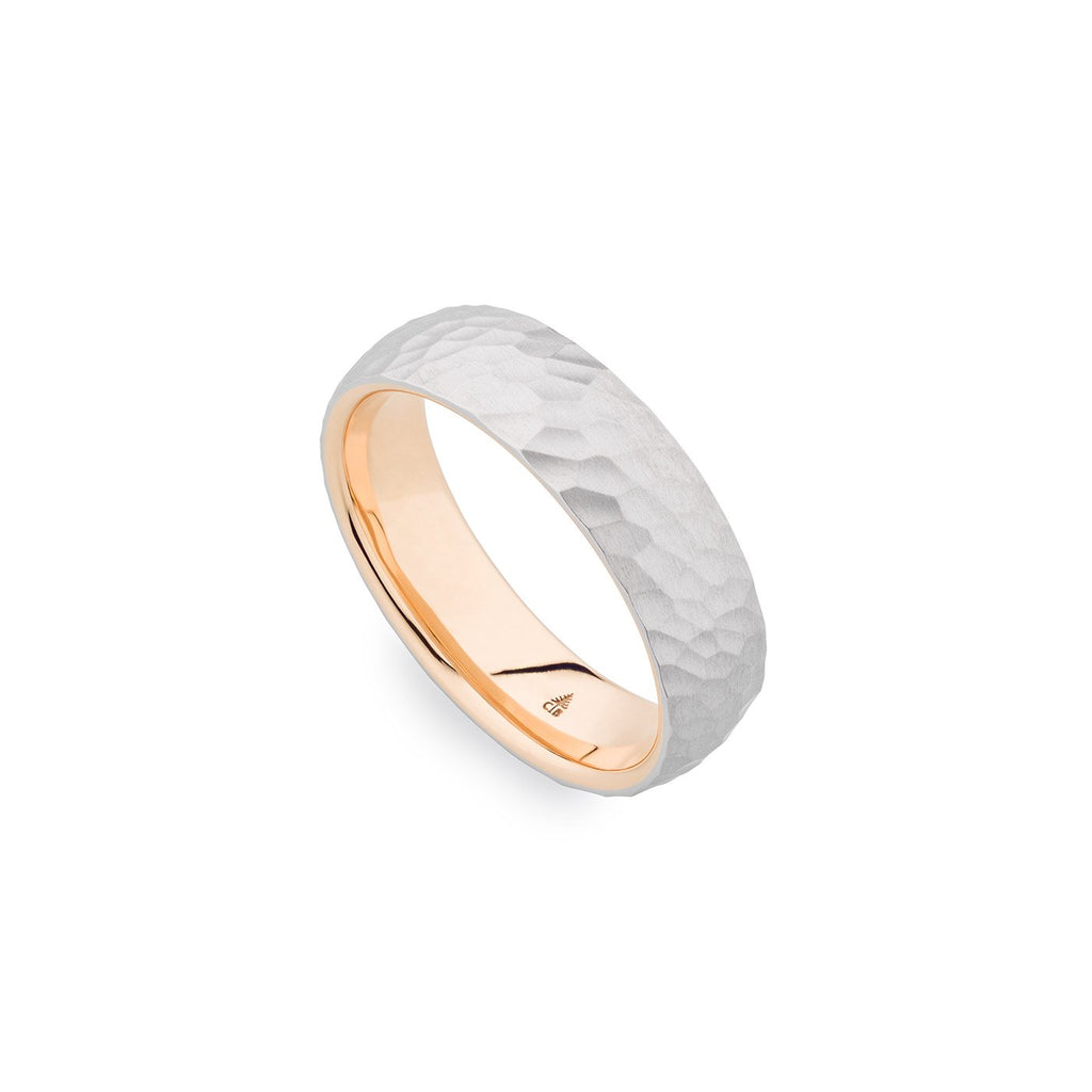 Palladium & 18K Rose Gold 6mm Hammered Band