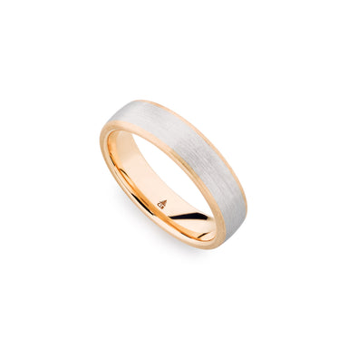 Palladium & 18K Rose Gold 6mm Brushed Polished Edge Band