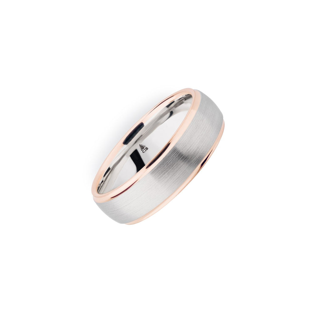 Palladium & 14K Rose Gold 6.5mm Brushed Polished Edge Band