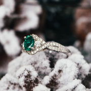 14K White & Yellow Gold Oval Emerald Ring