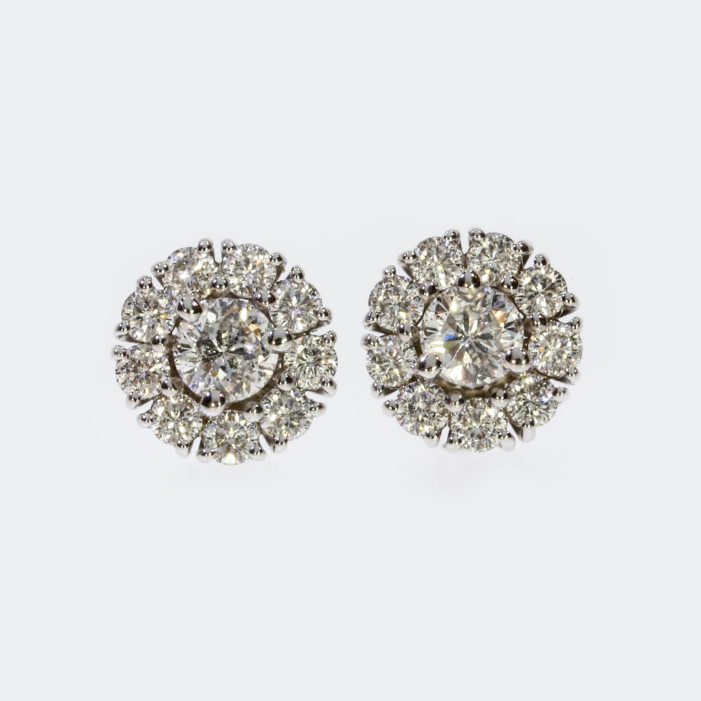 18K White Gold Flower Cluster Earrings